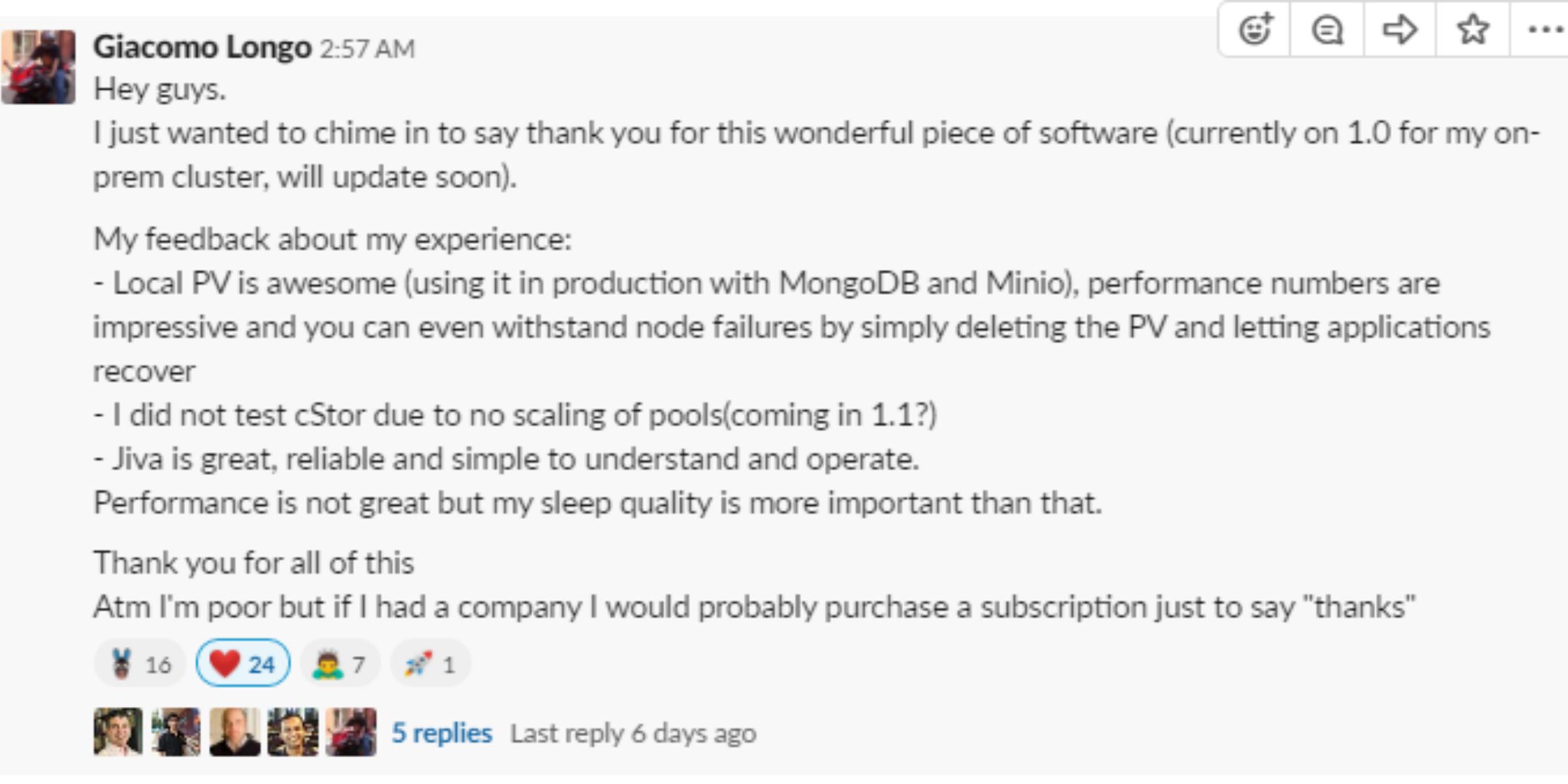 OpenEBS user community
