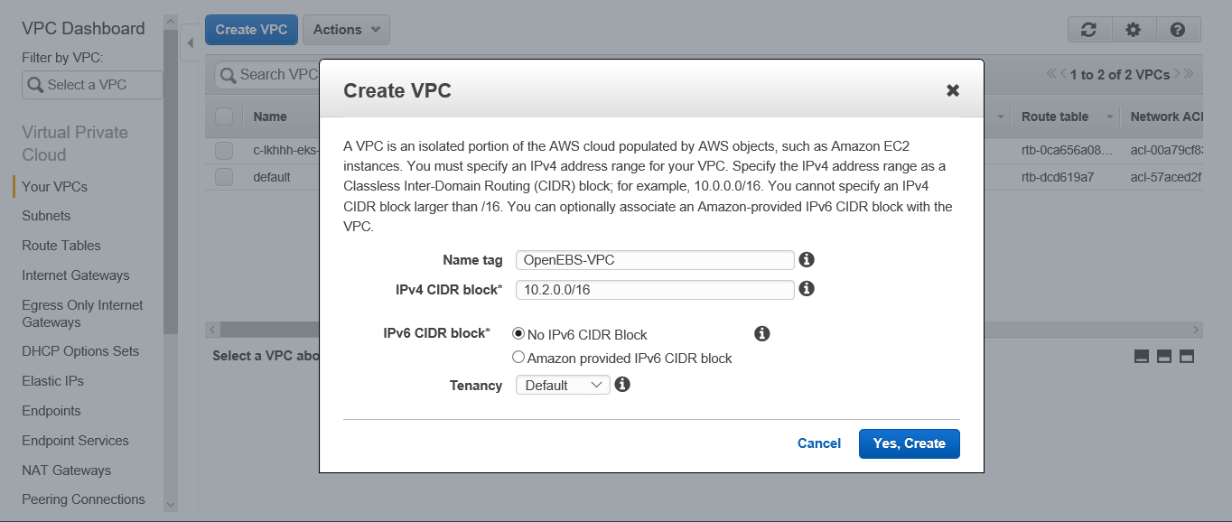 Create a Virtual Private Clout (VPC). To do this, go to VPC service and create a VPC.