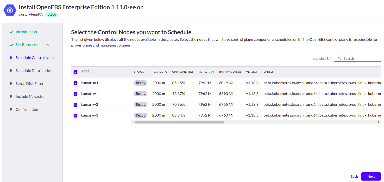 Select the control nodes you want to schedule
