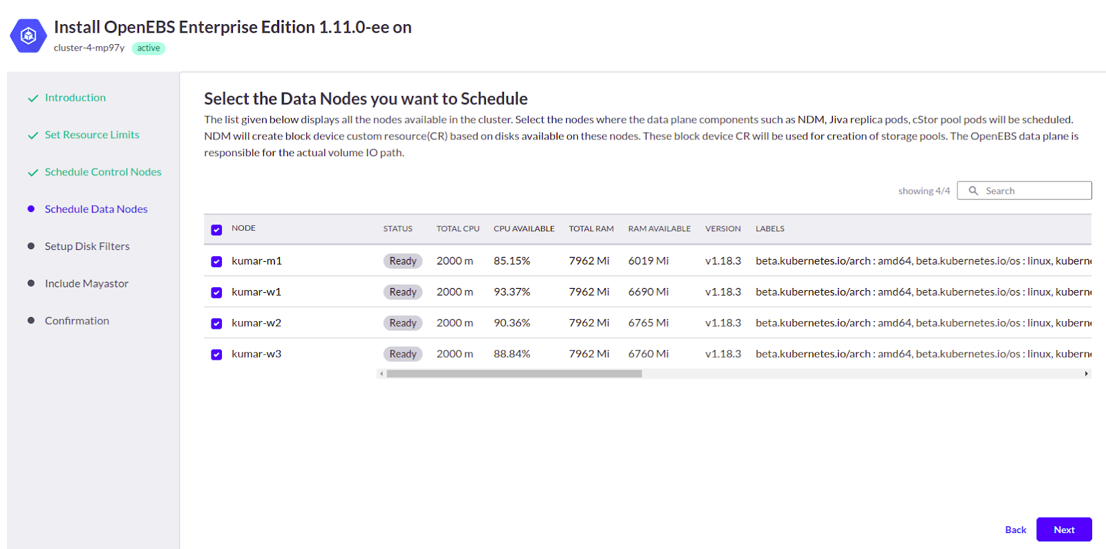 select the Data Nodes you want to schedule